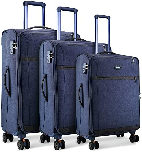 SHOWKOO Luggage Sets Expandable 3 Piece Softshell Lightweight Durable Suitcase Impact Resistant Double Spinner Wheels TSA Lock