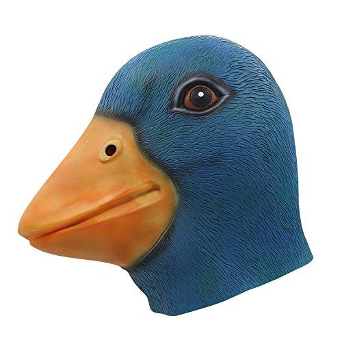 molezu Duck Head Mask, Halloween Animal Head Mask, Latex Cute Duck Mask Costume Play Blue]()