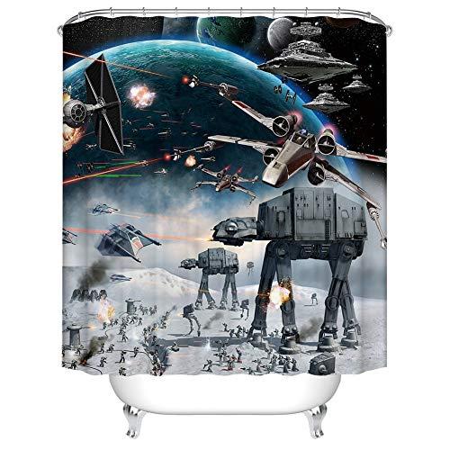 Fangkun Home Decor Bathroom Shower Curtain Set Modern High-tech Robot Air Combat Design - Polyester Fabric Waterproof Bath Curtains - 12pcs Hooks - 72 x 72 inches