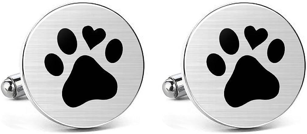 MUEEU Animal Cufflinks Pet Dog Cat Paw Print Round Cuf flink Tie Clips Engraved Personalized Gifts