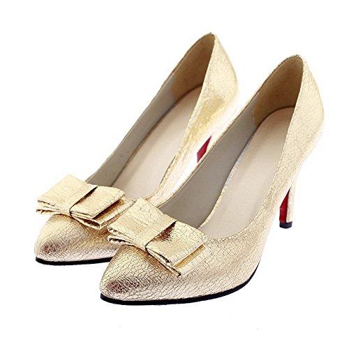 AgooLar Damen PU Rein Ziehen auf Spitz Zehe Stiletto Pumps Schuhe, Golden, 40