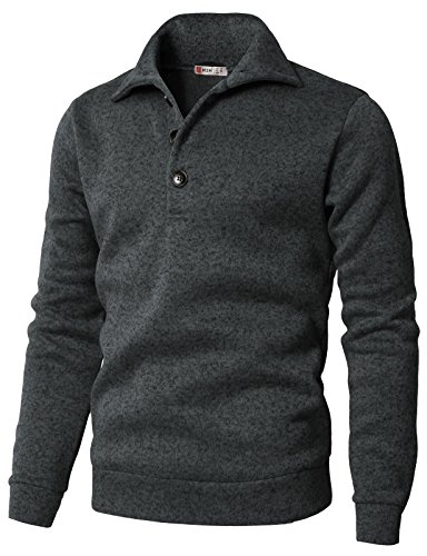- H2H Men's Slim Fit Turtleneck Basic Knit Sweater with Buttons Charcoal US 2XL/Asia 3XL (CMTTL091)
