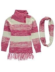 "Dollhouse Big Girls' ""Knit Tassel"" Sweater with Scarf"