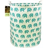 HUNRUNG Large Canvas Fabric Lightweight Storage Basket/Toy Organizer/Dirty Clothes Collapsible Waterproof for College Dorms, Kids Bedroom,Bathroom,Laundry Hamper (Blue Elephant)
