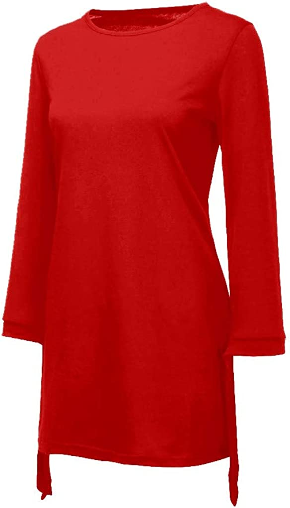 LATINDAY ◆ Womens Elegant Loose T Shirt Dress O Neck Home Mini Dresses Tops with Bow