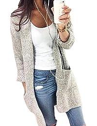 Women's Long Sleeve Knit Longline Winter Open Front Cardigan Sweaters With Pocket