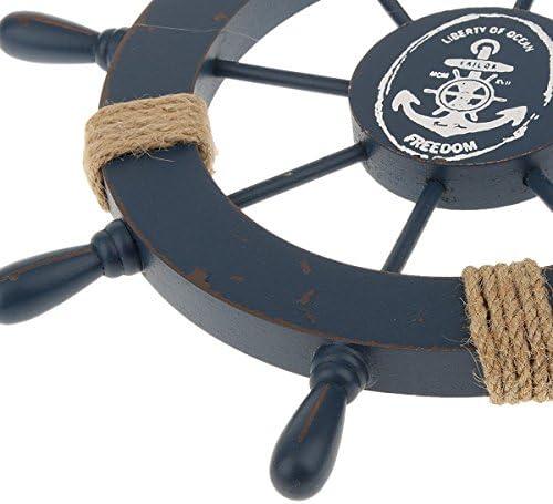 LIOOBO Steuerrad mit Anker Schiffssteuerrad Holz Wanddeko Maritime Deko Vintage Steuerrad Deko 28CM (Himmelblau)