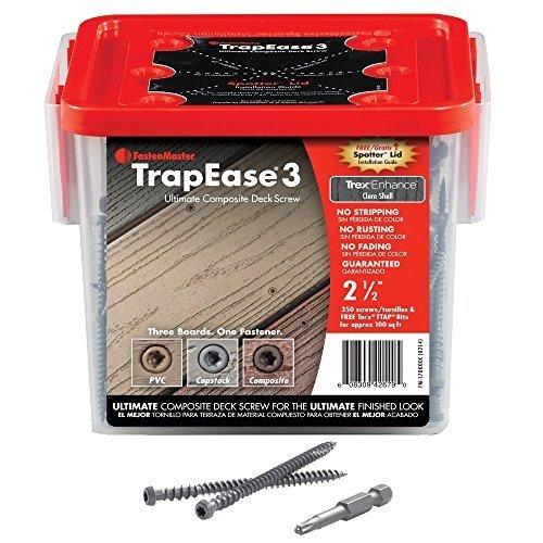 FastenMaster FMTR3-212-350SLSD 2-1/2 Trapease 3 Composite Screws - Trex Saddle / Evergrain Classic Cedar - 350ct by (Trapease Screw)