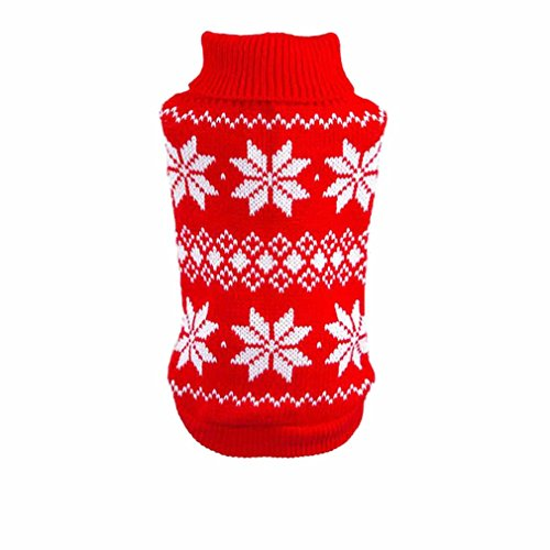Image of HP95(TM) Hot!Dog Clothes Pet Winter Snowflake Woolen Sweater Knitwear Puppy Warm High Collar Coat and Jacket (XS, Red)