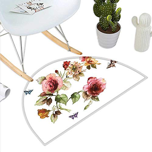 Anniutwo Flower Half Round Door mat Shabby Chic Roses Buds Leaves Tulips Floral Details Butterfly Natural Eco Print Half Round Front Door mat Multicolor