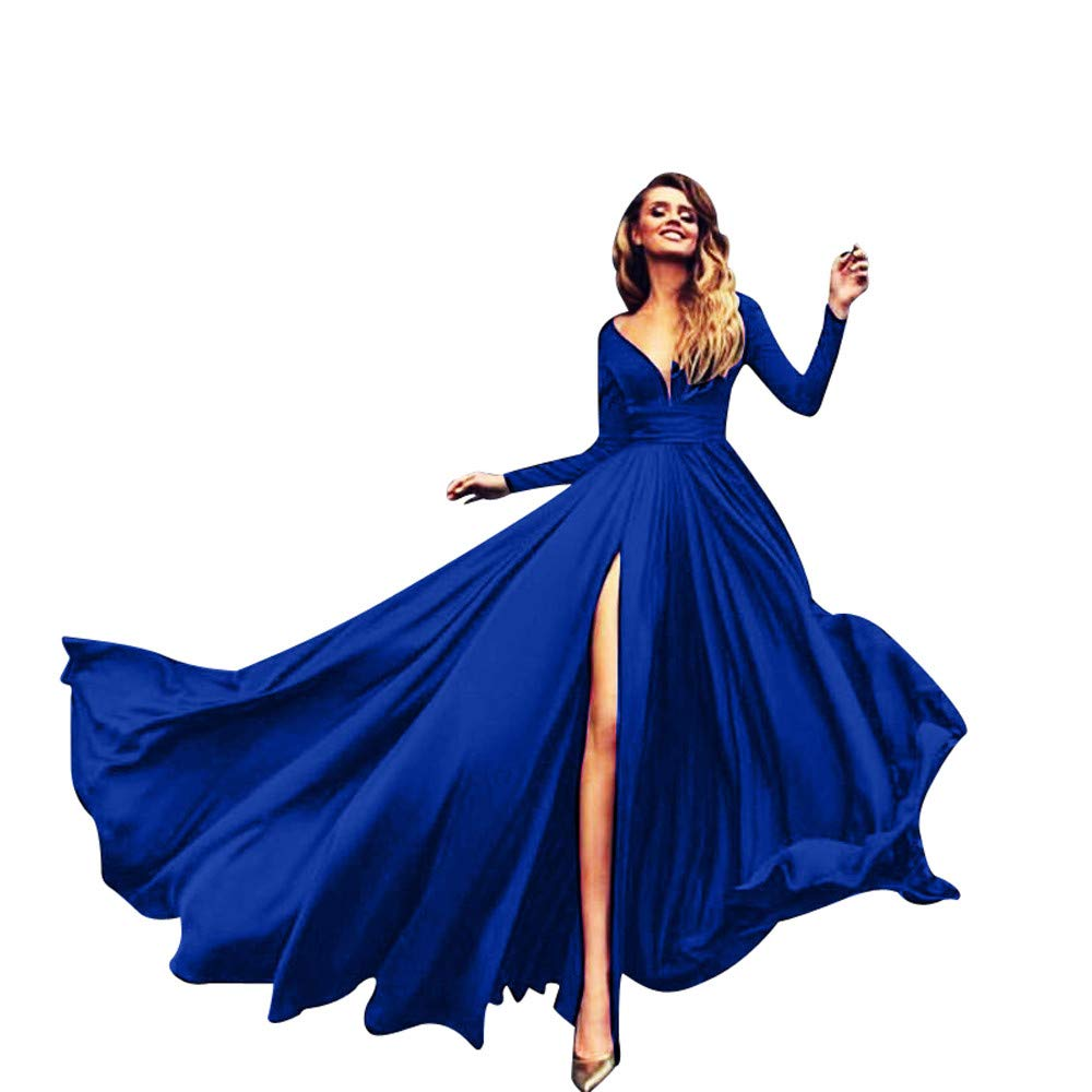 Ladies Solid Color Gowns High Waist V-Neck Long Section Sexy Long Sleeve Split Ends Dress MEEYA Blue