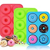WALFOS 3 Pack Food Grade Silicone Donut Pan Molds,Non-Stick Safe Baking Pans for Full Size Perfect Shaped Doughnuts-Cake Biscuit Bagels -BPA Free,Dishwasher, Oven, Microwave, Freezer Safe