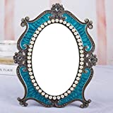LQQFF Vintage makeup mirror, princess mirror, desktop single small desktop mirror. (Color : Blue)