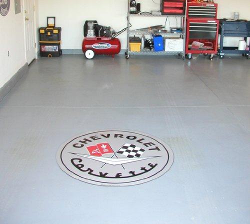 Corvette Garage Wall or Floor Graphic Gray C1 Logo 44''