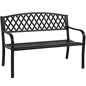"Best Choice Products 50"" Patio Garden Bench Park Yard Outdoor Furniture Steel Frame Porch Chair Seat from Best Choice Products"
