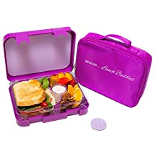 Bento Lunch Box- by mmmLunchBuddies-Double Leak Proof Container-New Dual Latch-Great for Kids or Adults+ FREE INSULATED LUNCH BAG-Healthy Portion Plate-4 Compartment-Microwave-Dishwasher (purple)