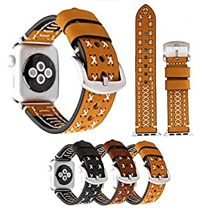 YXIM(TM) 38mm Fashion Manual Suture Design Genuine Leather Replacement Band Adjustable Bracelet Strap Band For Apple Watch iWatch Nike+, Series 1, Series 2, Series 3, Sport, Edition (38mm Light Brown)