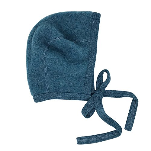 Newborn Baby Bonnet Hat with Ties, Organic Merino Wool Fleece (62-68 / 3-6 months, Teal)