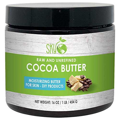 Unrefined Cocoa Butter (16 oz) 100% Pure Raw Cocoa Butter - Skin Nourishing, Moisturizing & Healing, for Dry Skin, Stretch Marks - For Skin Care, Hair Care & DIY Recipes