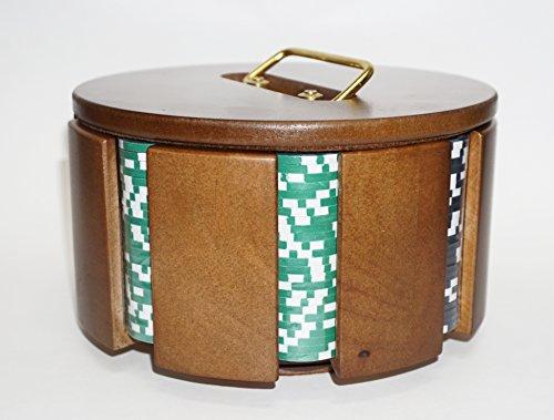 Wooden Revolving Chip Holder with 200 (11.5 Gram) Las Vegas Style Chips