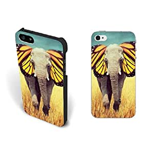 Cute Animal Elephant Iphone 5 case In Unique Butterfly Design Hard Plastic Screen Protector Cell Phone Case cover