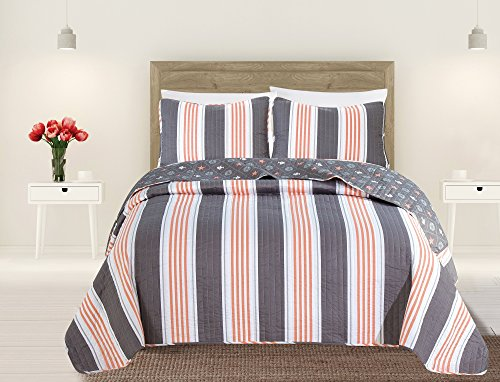 Discount Quilts Bedding (Great Bay Home 3-Piece Coastal Beach Theme Quilt Set with Shams. Soft All-Season Luxury Microfiber Reversible Bedspread and Coverlet. St. Croix Collection By Brand. (King, Coral/Grey))