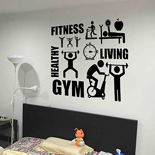 Fangeplus(TM) Fitness GYM Living Healthy Sports Running Weightlifting Cycling DIY Removable Art Mural Vinyl Waterproof Wall Stickers Kids Room Decor Living Room Decal Sticker Wallpaper 22.4''x20.0''