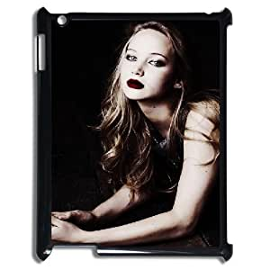 3D Bloomingbluerose Jennifer Lawrence IPad 2,3,4 2D Cases Jennifer Lawrence ,red Lips, Pattern Jennifer Lawrence, {Black}