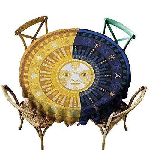 SKDSArts Table-Cloth Home Decoration Sun and Moon,Solstice Theme Transformation of The Day Ornament Spiritual Boho Art Design,Multicolor D50,Table Flag Home Decoration