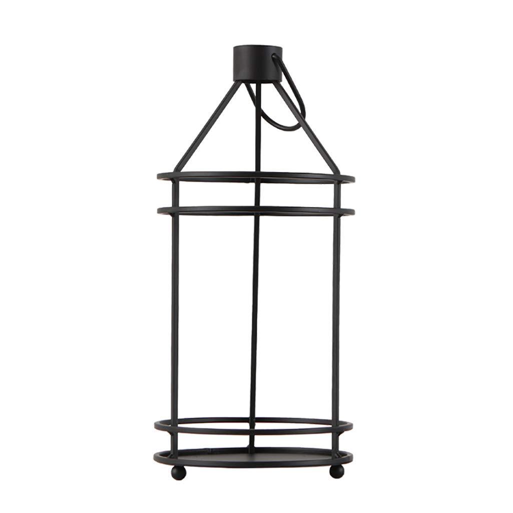 HUA Stand fiore nero in ferro battuto, nordico creativo minimalista geometrica soggiorno interno balcone vaso di fiori decorazione casa decorazione rotonda espositore ( dimensioni   1840cm )