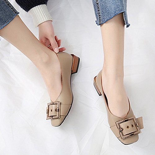T-JULY Womens Buckle Square Toe Low Heel Fashion Soft Penny Casual Driver Flats Loafers Shoes Black V4cw0
