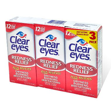 Clear Eyes Maximum Redness Relief Eye Drops | Also Relieves Drying, Burning & Irritations | 0.5 Ounce per Box | 3 Boxes Total (Pack of 2) TgU^IOK