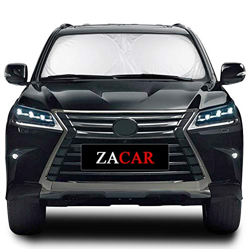 L - 63 x 32.67 inches ZACAR Windshield Sun Shade 210T Car Sun Shade Keep Your Vehicle Cool,Foldable Sunshade for Car Windshield Will Provide Maximum UV and Sun Protection