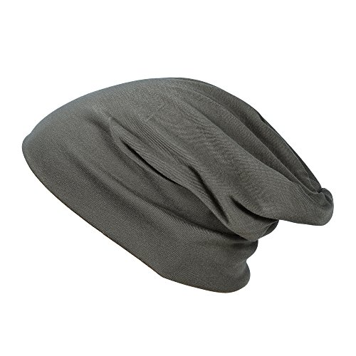 MATCH MUCH Beanie Hat Slouch Hat Soft Stretch Baggy Hat(Solid-Brown) (Brown Cotton Beanie)