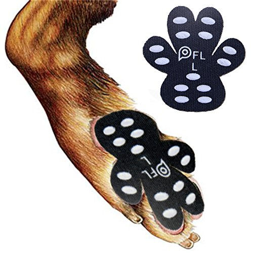 Dog Paw Protection Anti-Slip Traction Pads with Grip, 24 Pieces Self Adhesive Disposable Dog Shoes for Hardwood Floor Indoor Wear (L-2.2x2.5/ 51-80 lbs)