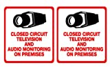 2 Pack Security Decal – #205 Video and Audio CCTV Security Surveillance Camera Warning Decals