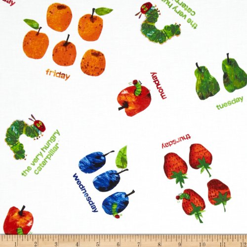Caterpillar Fabric Hungry - Andover The Very Hungry Caterpillar Dots Small Scattered Fruit White Fabric by The Yard