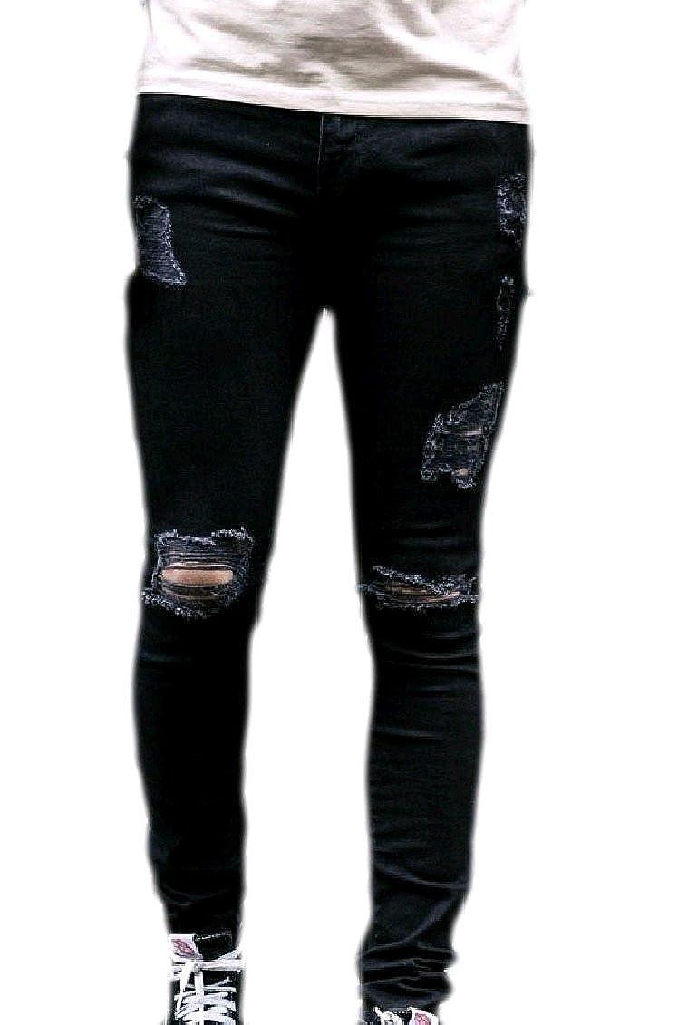 KaWaYi Men Solid Bodycon Denim Destroyed Fashional Pencil Jeans Pants Trousers
