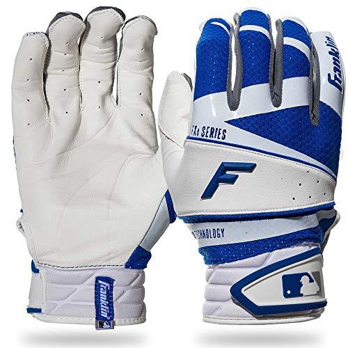 (Franklin Sports Freeflex Pro Series Batting Gloves White/Royal Adult Medium)