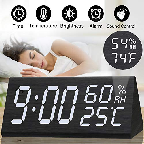 Wooden Alarm Clock - 12H/24H Digital Triangular Clock Large Display with Temperature and Humidity Sound Control Weather Monitoring Wake Up Clock for Kids Heavy Sleeper Father's Day Birthday Gifts ()