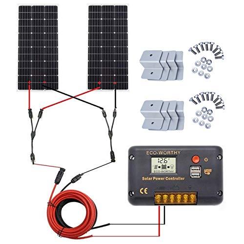 ECO-WORTHY 200 Watt (2pcs 100W) Monocrystalline Solar Panel Complete Off-Grid