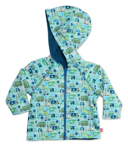 Zutano Baby Boys Road Trip Reversible Zip Hooded Sweatshirt, AQUA, 24 Months ()