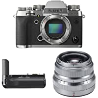 Fujifilm X-T2 Mirrorless Digital Camera (Graphite) w/ XF35mm F2 Silver Lens & Vertical Power Booster