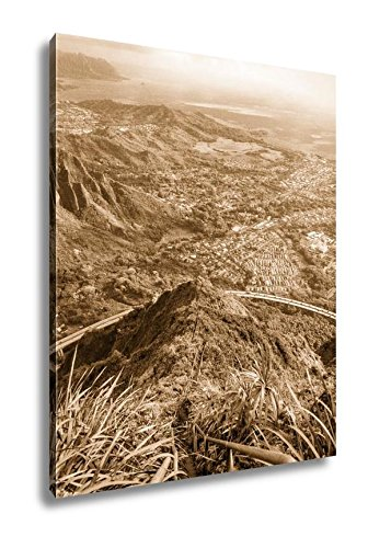 Ashley Canvas Stairway To Heaven In Oahu Island Hawaii, Wall Art Home Decor, Ready to Hang, Sepia, 20x16, AG6407338 by Ashley Canvas