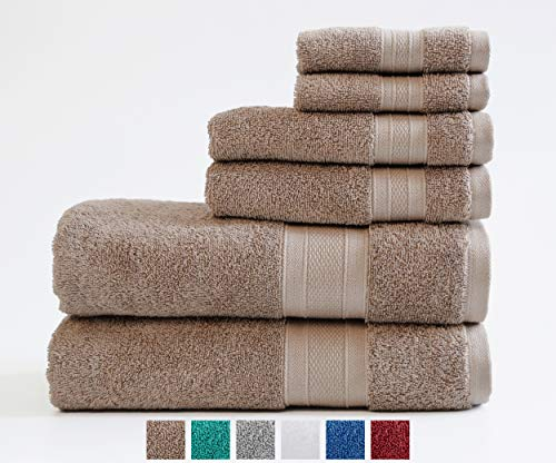 TRIDENT 100% Cotton Feather Touch Towels, 6 Piece Set – 2 Bath Towels, 2 Hand Towels, 2 Washcloths, Super Soft and Highly Absorbent, Soft & Plush Bath Towels, 14 lbs/dzn (Acorn)