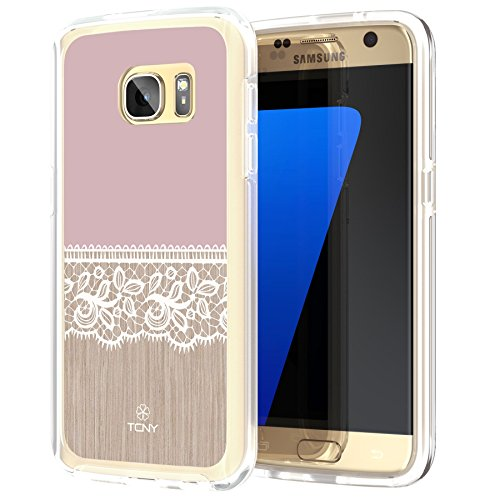 Samsung Galaxy S7 Lace Case, True Color Wood and Lace Printed on Clear Hybrid Cover Hard + Soft Slim Durable Protective Shockproof TPU Bumper - Pink (Case True Floral)