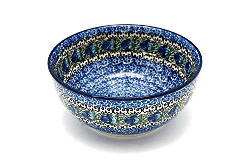 - Polish Pottery Bowl - Coupe Cereal - Peacock Feather