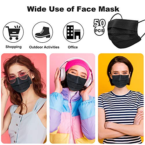 Black Disposable Face Mask, Individually Wraped Face Mask 3ply for Adult Men Women Youth Disposable Face Mask Black 3 ply 50pcs