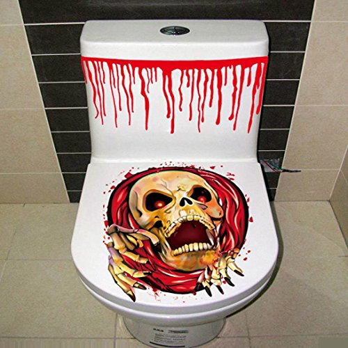 BIEARY Halloween Toilet Sticker, Bloody Hand Cover Party Decoration Sticker Prop Scary Zombie (M, (Toilet Plunger Costume)