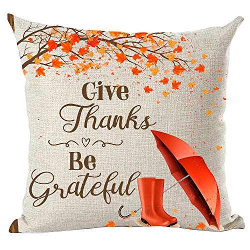 Give Thanks Word Art - ramirar Brown Word Art Quote Give Thanks Be Thankful Orange Maple Leaves Umbrella Galoshes Decorative Throw Pillow Cover Case Cushion Home Living Room Bed Sofa Car Cotton Linen Square 18 x 18 Inches